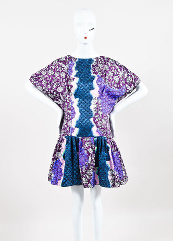 Peter Pilotto Green, Pink, and Purple Silk Multi Print Pleated Drop Waist Dress Frontview