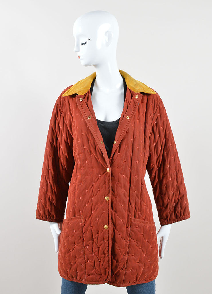 Hermes Dark Red and Yellow Velvet Collar Quilted Button Down Jacket Frontview