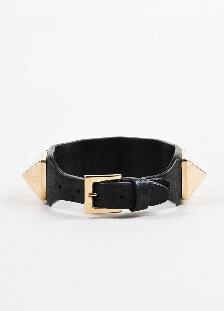"Valentino Black and Gold Toned Leather ""Va Va Voom Rockstud"" Buckle Bracelet Backview"