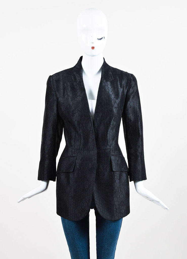 Alexander McQueen Black Silk Embroidered Bee Honeycomb Blazer Jacket Frontview 2