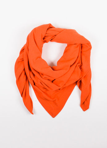Chanel Orange Cashmere Throw Blanket Wrap Scarf Frontview