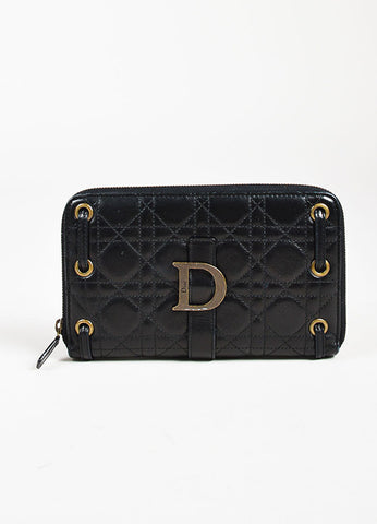 Christian Dior Black Leather Cannage Quilted Zip Around Wallet Frontview