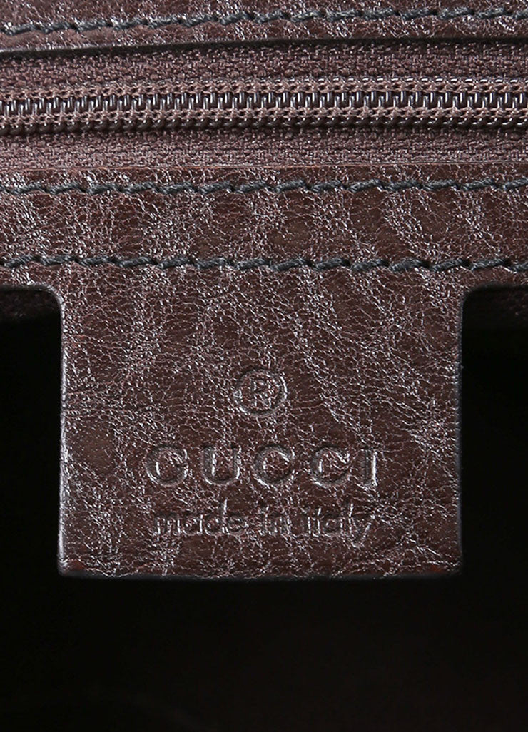 Gucci Brown and Gold Toned Monogram Canvas and Leather Oversized Stud Tote Bag Brand