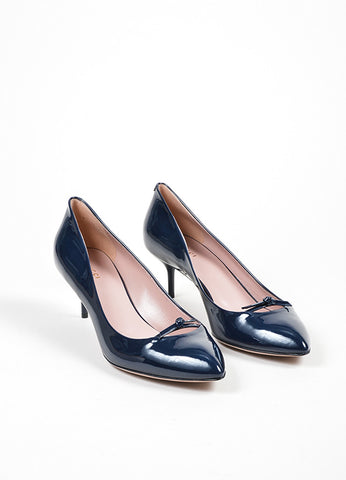 "Navy Blue Gucci Patent Leather ""Beverly"" Bow Mid Heel Pumps Frontview"