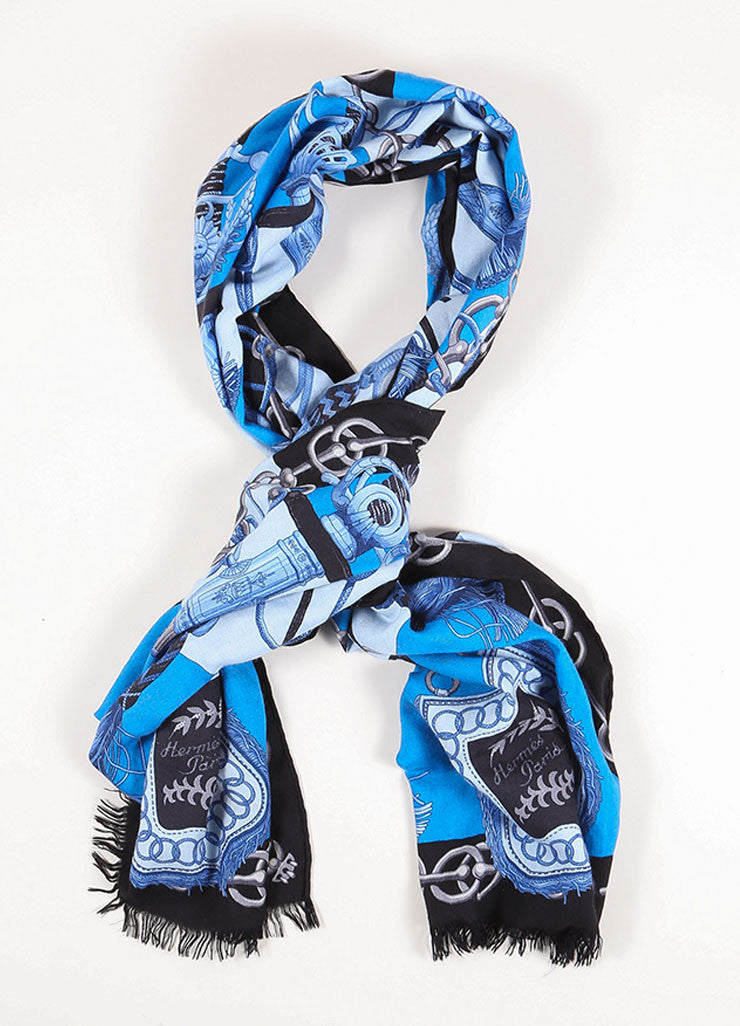 Hermes Blue and Black Cashmere and Silk Harness Tassel Print Fringe Scarf Frontview