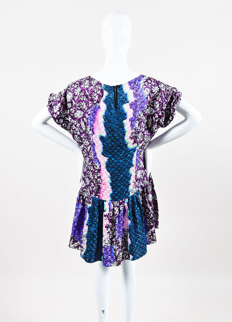Peter Pilotto Green, Pink, and Purple Silk Multi Print Pleated Drop Waist Dress Backview