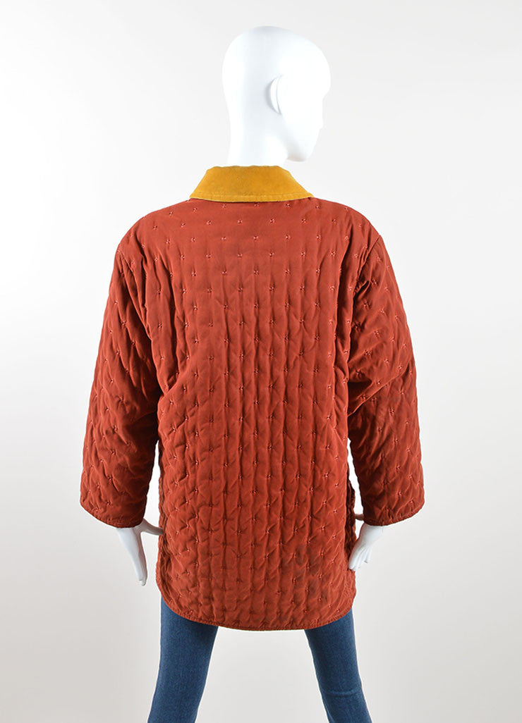 Hermes Dark Red and Yellow Velvet Collar Quilted Button Down Jacket Backview