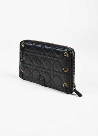 Christian Dior Black Leather Cannage Quilted Zip Around Wallet Sideview