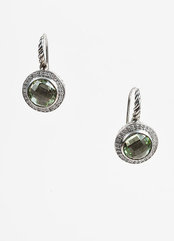 David Yurman Sterling Silver Prasiolite Diamond Color Classics Earring Front