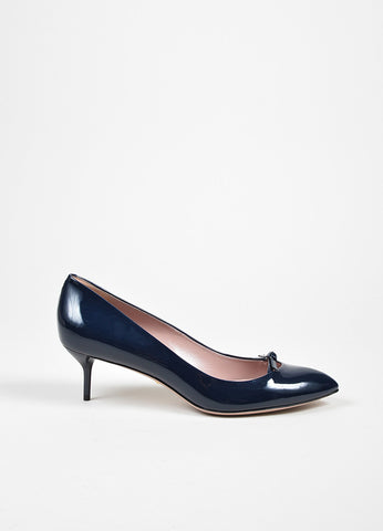"Navy Blue Gucci Patent Leather ""Beverly"" Bow Mid Heel Pumps Sideview"