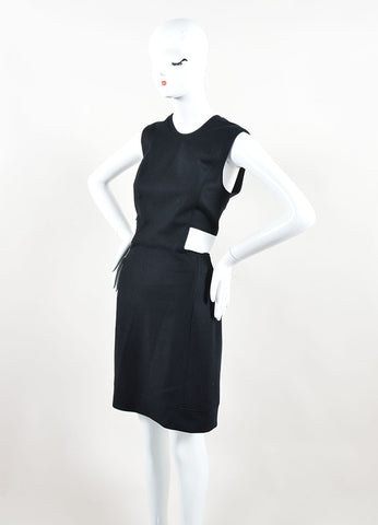 "Helmut Lang Black White Wool Leather ""Flex Suiting"" Cut Out Dress Side"