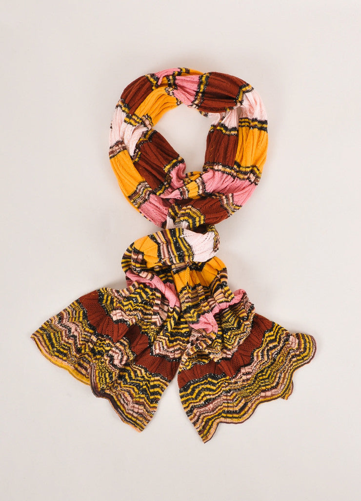 Missoni Orange Label Multicolor Striped Open Knit Scarf Frontview