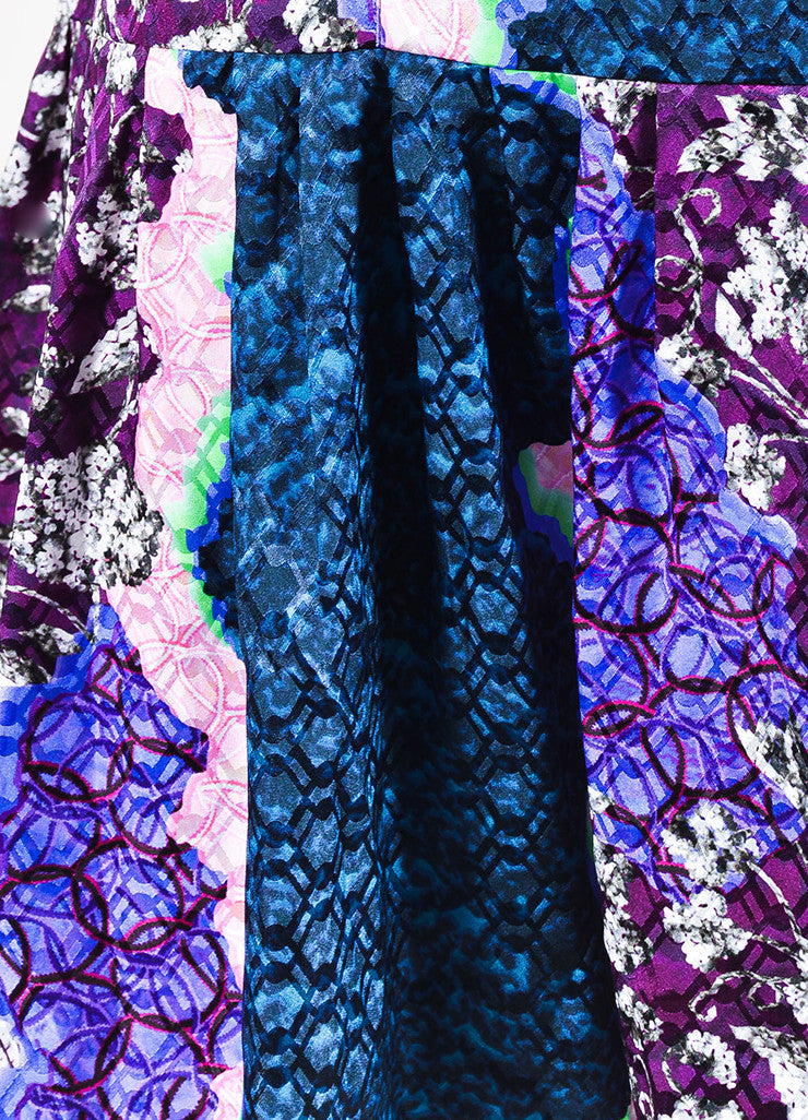 Peter Pilotto Green, Pink, and Purple Silk Multi Print Pleated Drop Waist Dress Detail