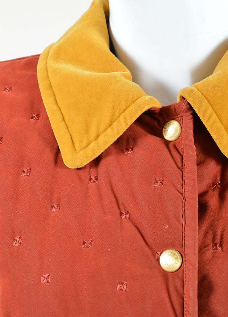 Hermes Dark Red and Yellow Velvet Collar Quilted Button Down Jacket Detail