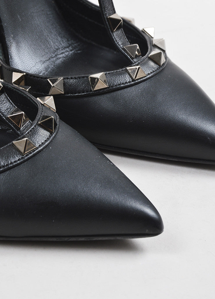 "Black Valentino Leather T-Strap Pointed Toe ""Noir Rockstud"" Pumps Detail"