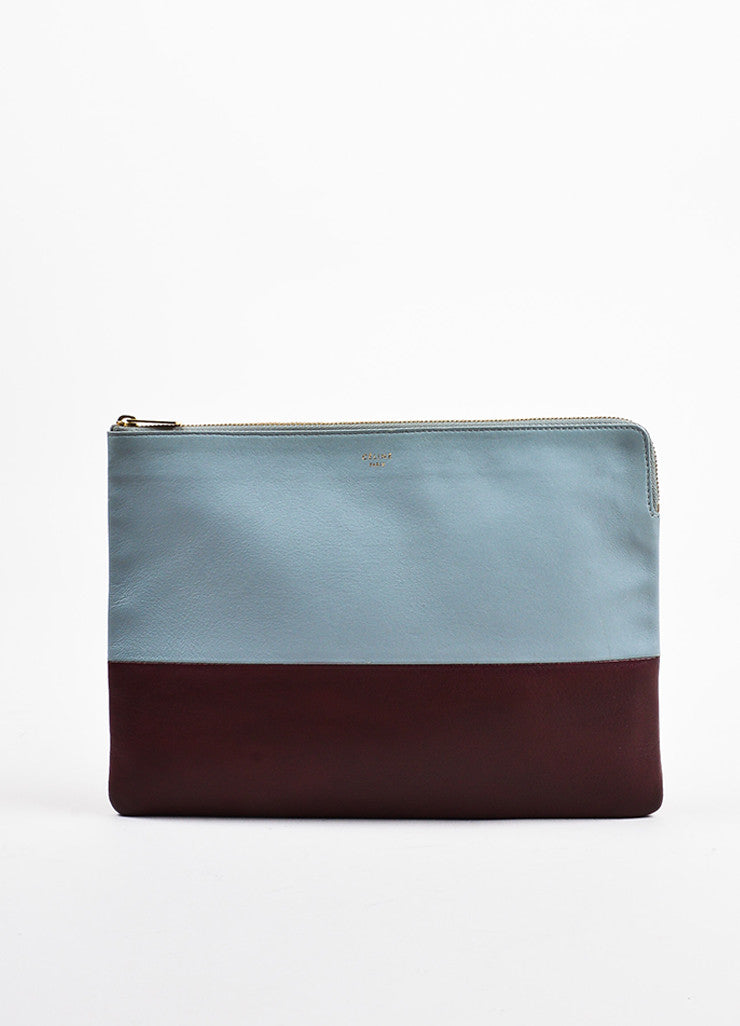"Celine Grey and Burgundy Leather Bi-Color Gold Toned Zip ""Solo"" Pouch Clutch Bag Frontview"
