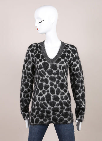 Gucci New With Tags Grey and Black Fuzzy Knit Leopard Print Long Sleeve Sweater Frontview