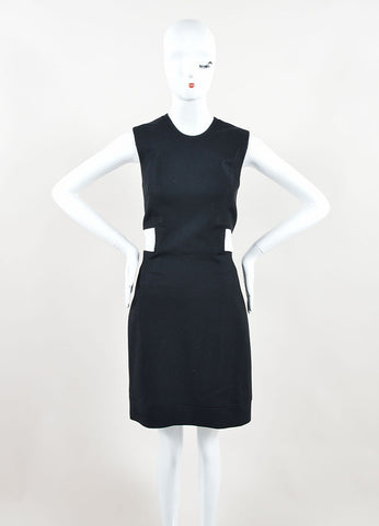 "Helmut Lang Black White Wool Leather ""Flex Suiting"" Cut Out Dress Front"