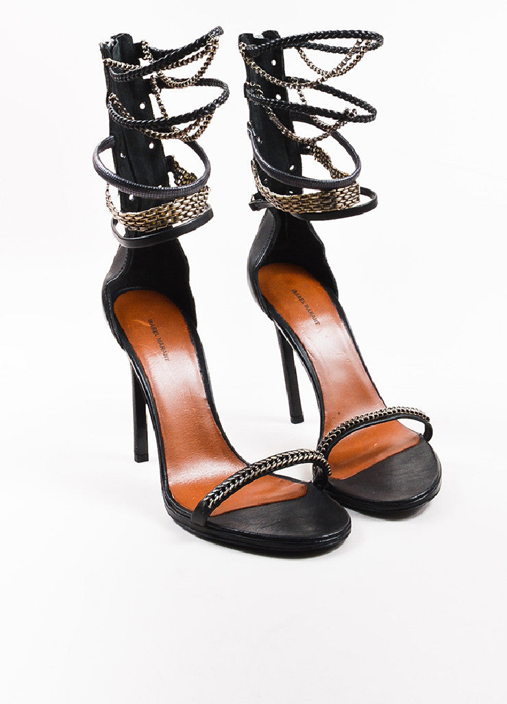 Isabel Marant Black Leather Chain Detailed Ankle Strap Sandals Frontview