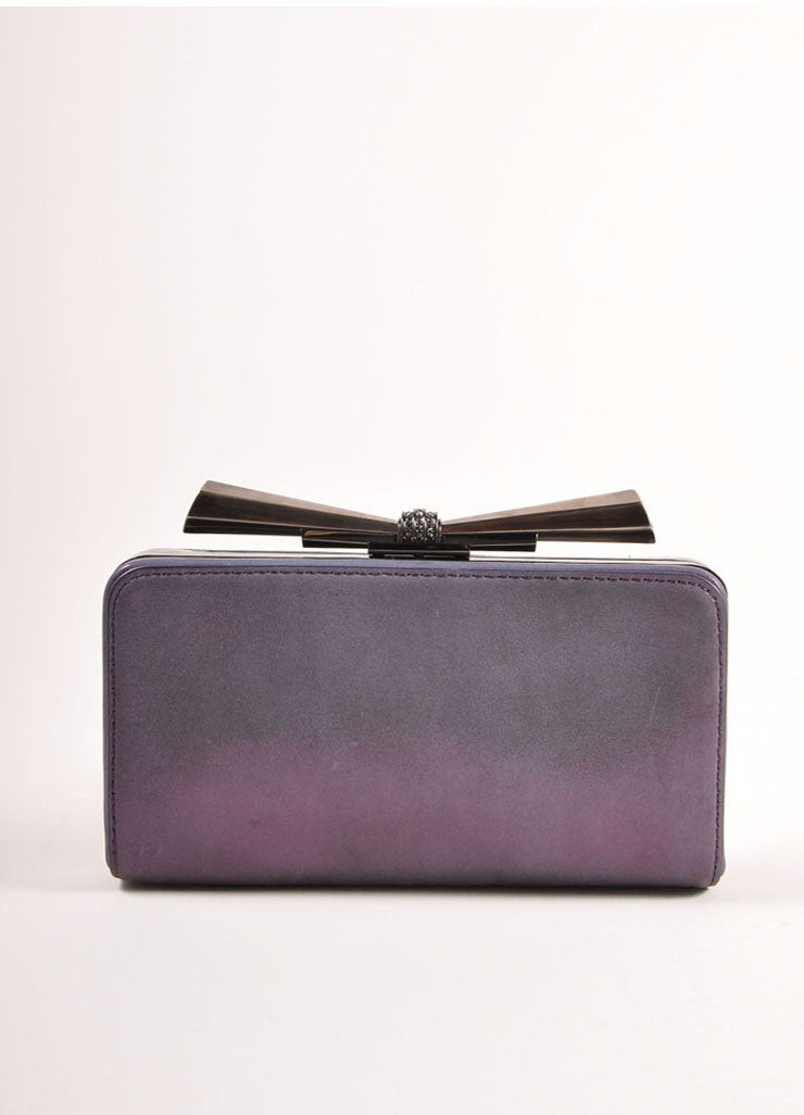 "Overture Judith Leiber Purple Metallic Bow Clasp ""Carrie"" Clutch Bag Frontview"