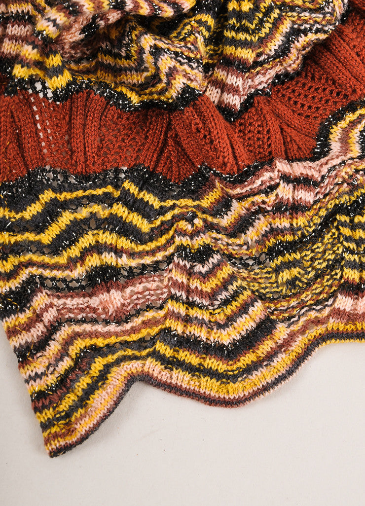 Missoni Orange Label Multicolor Striped Open Knit Scarf Detail 3
