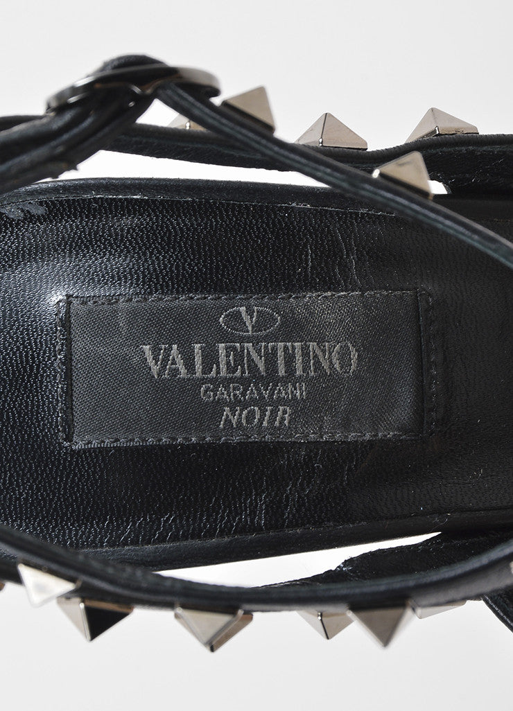 "Black Valentino Leather T-Strap Pointed Toe ""Noir Rockstud"" Pumps Brand"