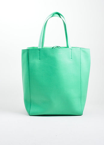 "Seafoam Green Celine Pebbled Leather ""Phantom Horizontal Cabas"" Tote Bag Frontview"