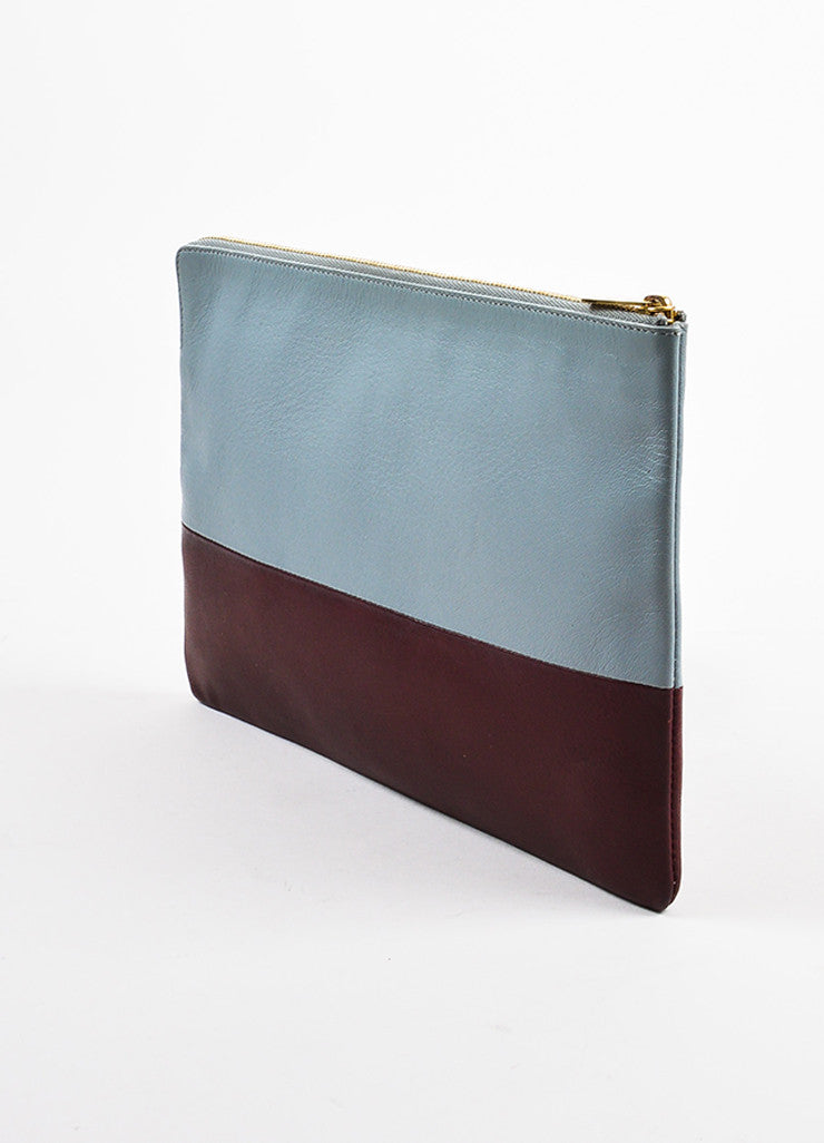 "Celine Grey and Burgundy Leather Bi-Color Gold Toned Zip ""Solo"" Pouch Clutch Bag Serial"