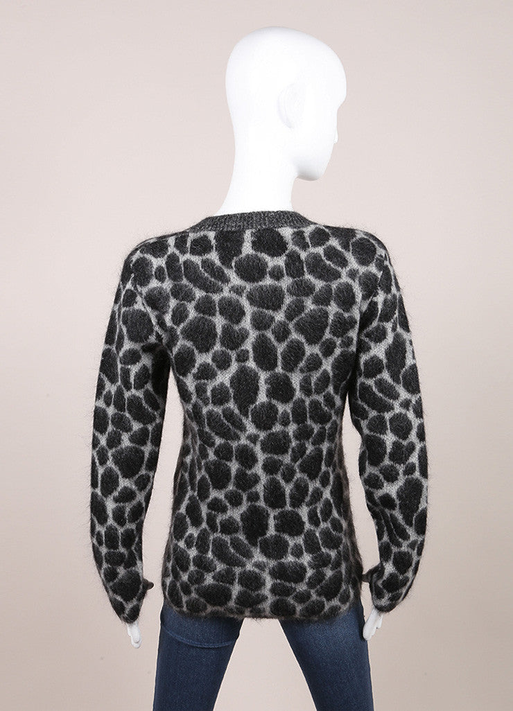 Gucci New With Tags Grey and Black Fuzzy Knit Leopard Print Long Sleeve Sweater Backview