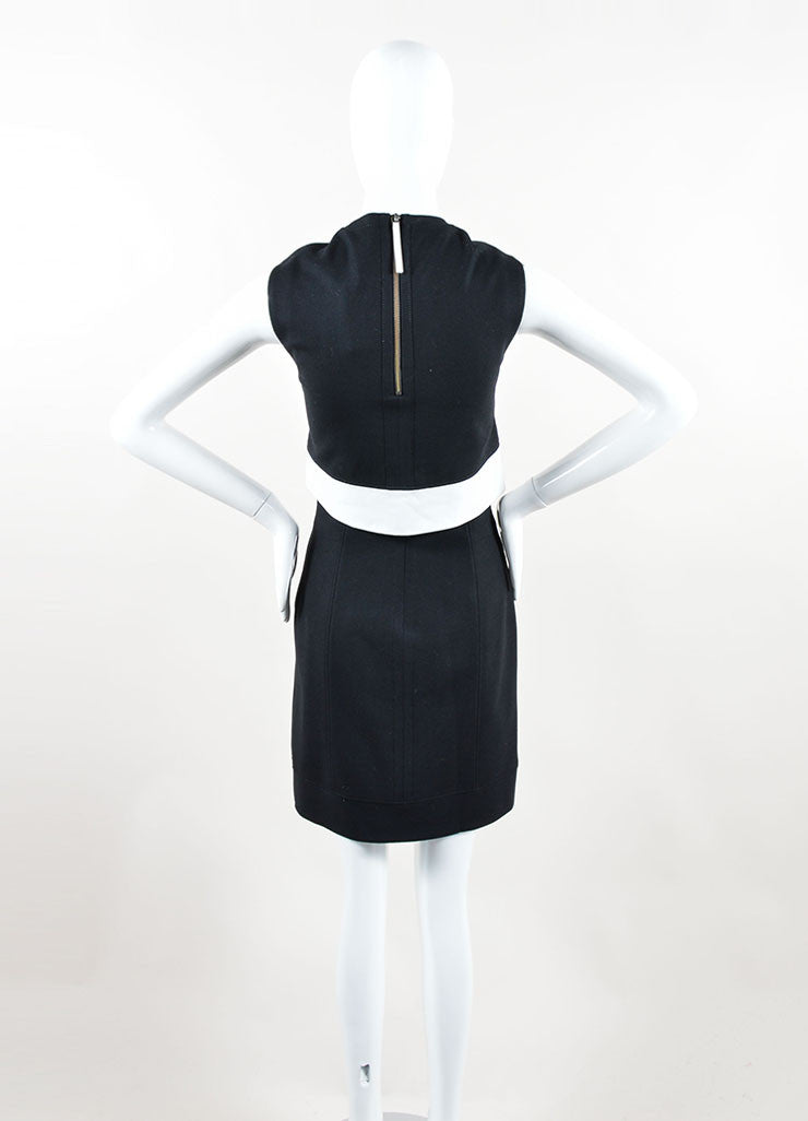 "Helmut Lang Black White Wool Leather ""Flex Suiting"" Cut Out Dress Back"