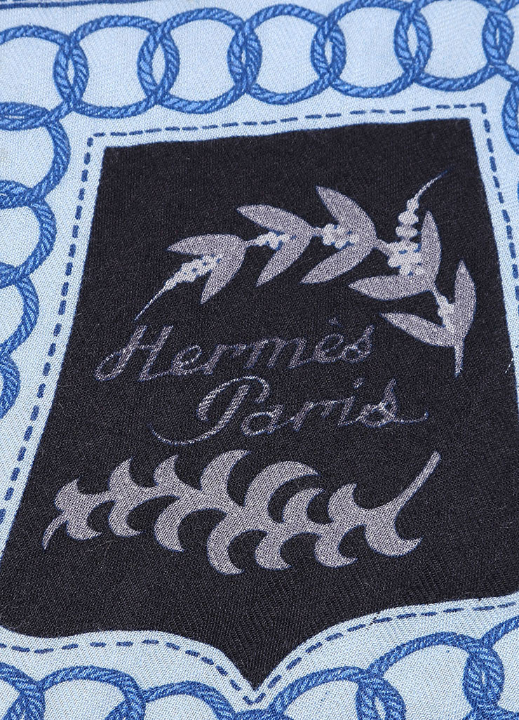 Hermes Blue and Black Cashmere and Silk Harness Tassel Print Fringe Scarf Brand