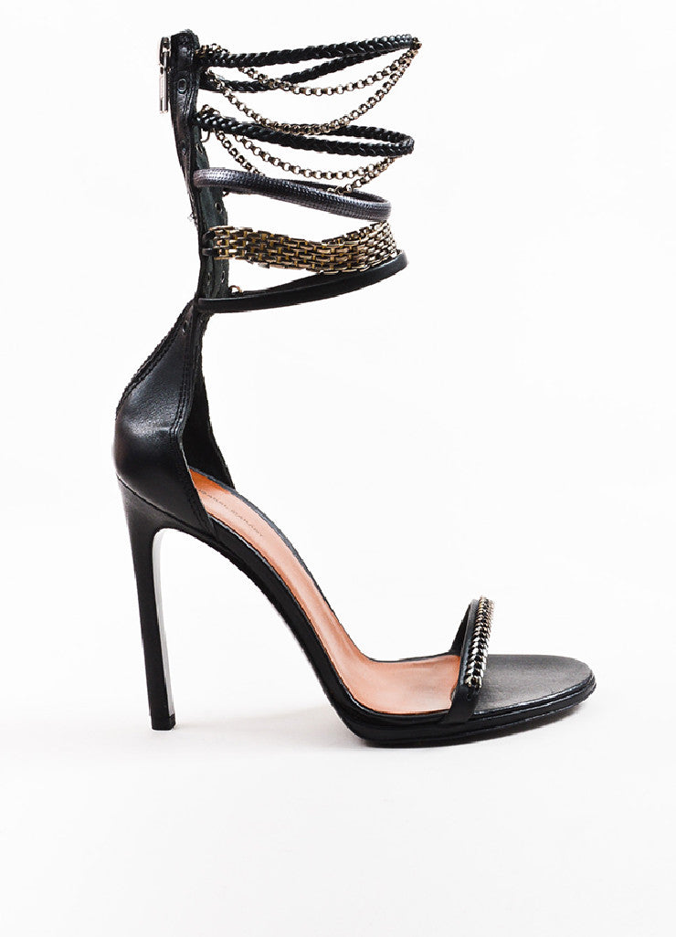 Isabel Marant Black Leather Chain Detailed Ankle Strap Sandals Sideview