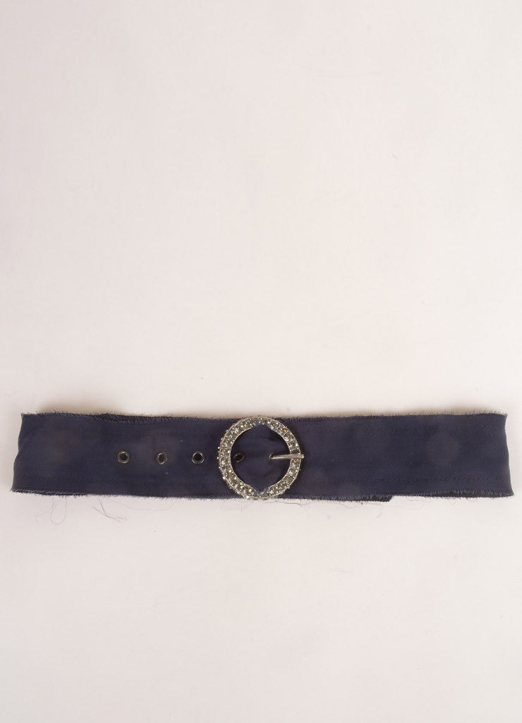 Lanvin Navy Blue Chiffon Knit Rhinestone Embellished Belt Buckle Frontview