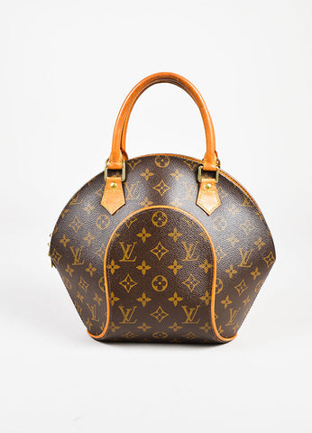 "Louis Vuitton Brown and Tan Coated Canvas Monogram ""Ellipse PM"" Satchel Bag Frontview"