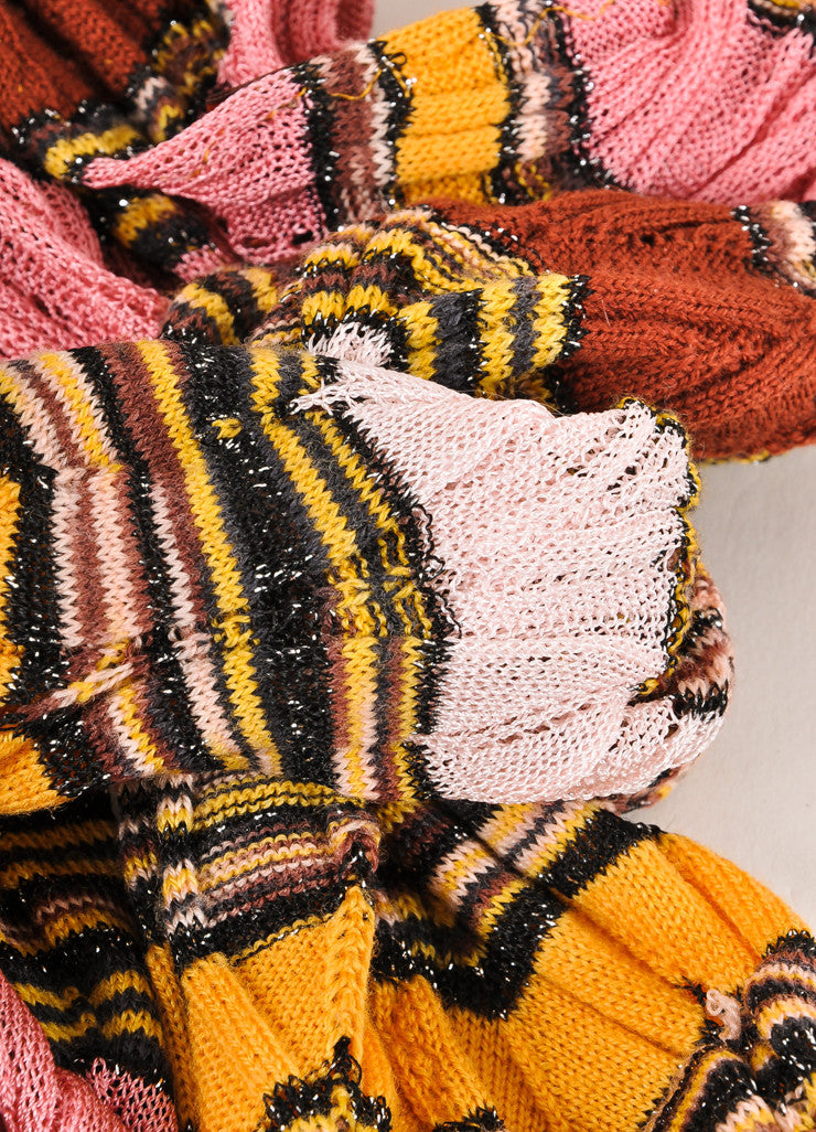 Missoni Orange Label Multicolor Striped Open Knit Scarf Detail