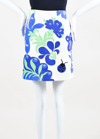 Cream and Blue VICTORIA Victoria Beckham Floral A Line Skirt Front