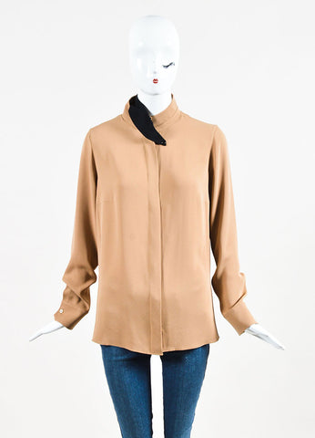 "Akris Camel Brown and Black Silk Twill Long Sleeve ""Rye"" Blouse Frontview"