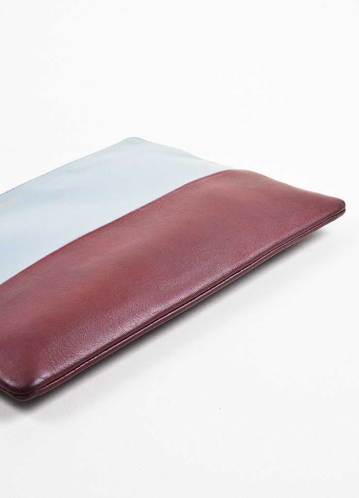 "Celine Grey and Burgundy Leather Bi-Color Gold Toned Zip ""Solo"" Pouch Clutch Bag Bottom View"