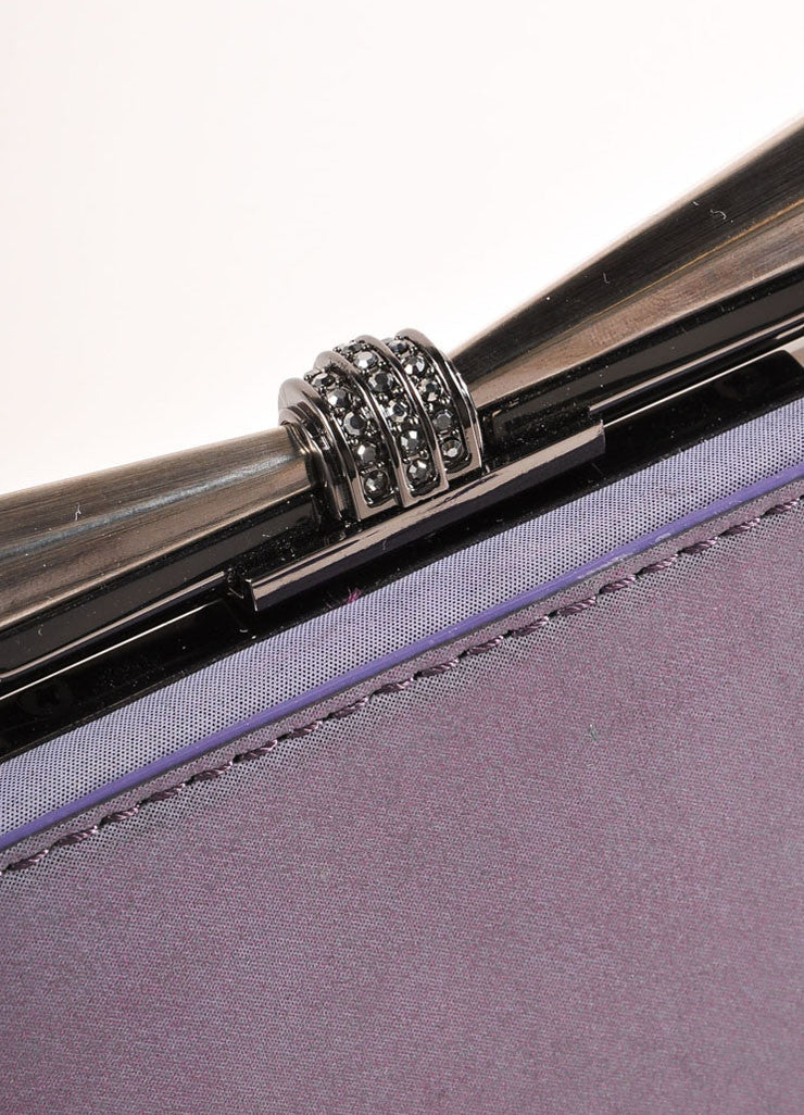 "Overture Judith Leiber Purple Metallic Bow Clasp ""Carrie"" Clutch Bag Detail 3"