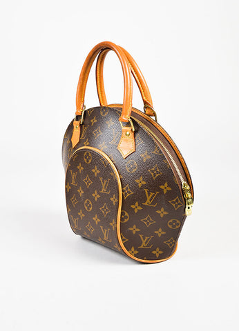 "Louis Vuitton Brown and Tan Coated Canvas Monogram ""Ellipse PM"" Satchel Bag Sideview"
