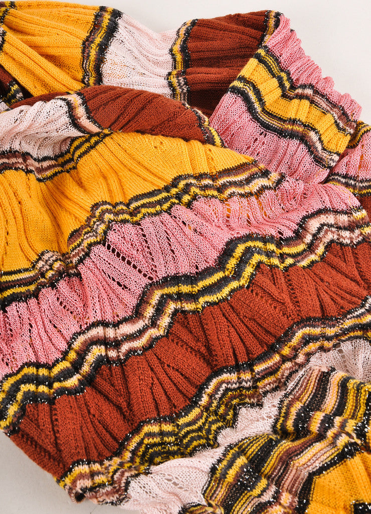 Missoni Orange Label Multicolor Striped Open Knit Scarf Detail 2