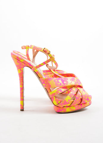 Nicholas Kirkwood Neon Yellow & Pink Platform Sandals Side