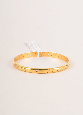 "Paula Mendoza New With Tags Gold Toned Perforated ""Isabella"" Bangle Bracelet Frontview"