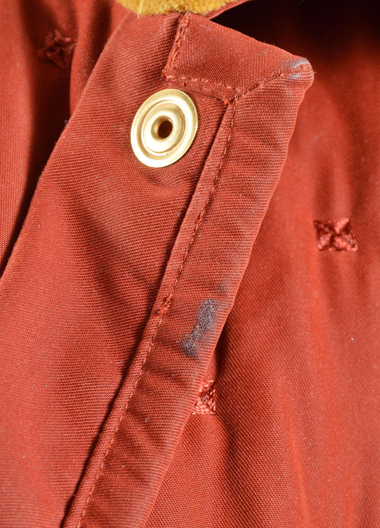 Hermes Dark Red and Yellow Velvet Collar Quilted Button Down Jacket Detail 4