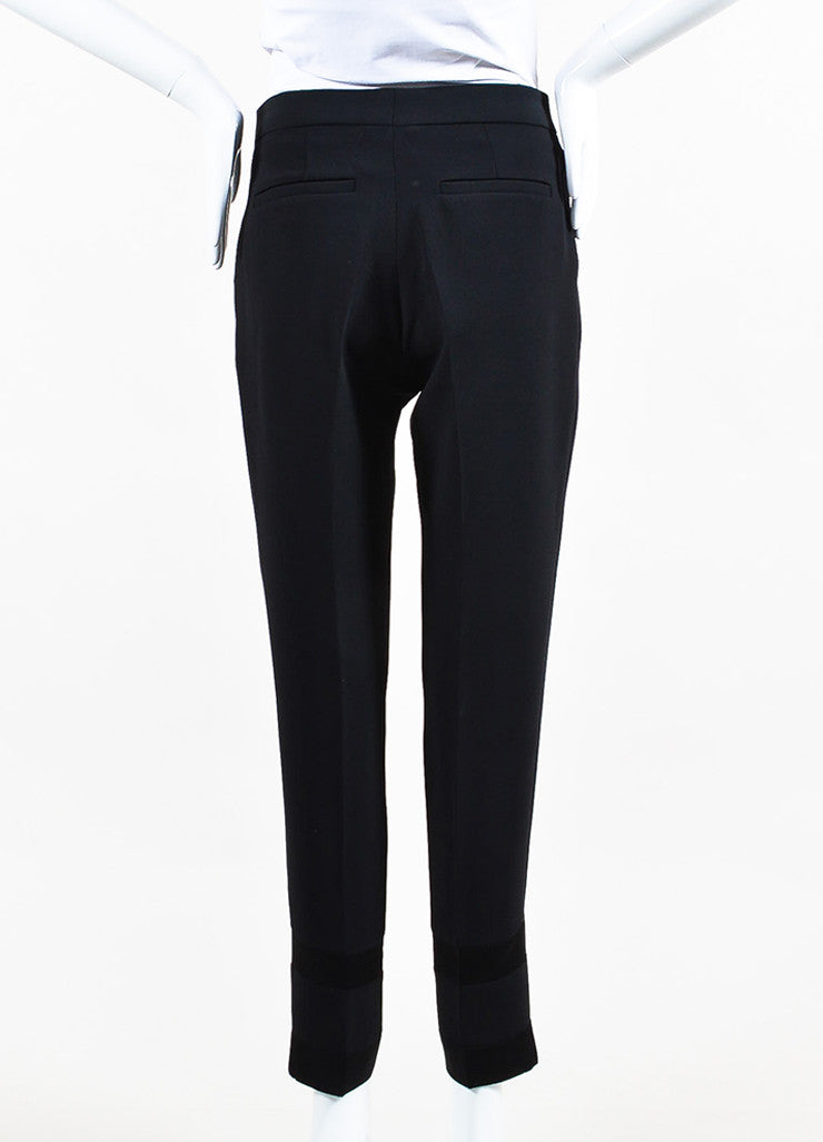 Black VICTORIA Victoria Beckham Crepe Satin Trim Crop Tuxedo Pants Back