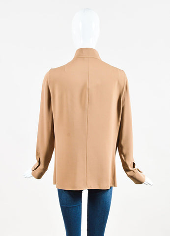 "Akris Camel Brown and Black Silk Twill Long Sleeve ""Rye"" Blouse Backview"