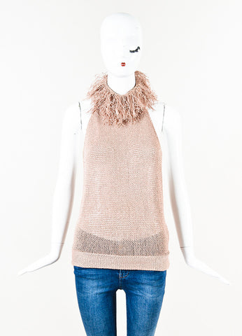 Brunello Cucinelli Light Pink Woven Fringe Open Back Sleeveless Top Front