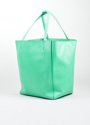 "Seafoam Green Celine Pebbled Leather ""Phantom Horizontal Cabas"" Tote Bag Sideview"
