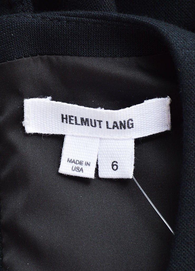 "Helmut Lang Black White Wool Leather ""Flex Suiting"" Cut Out Dress Brand"