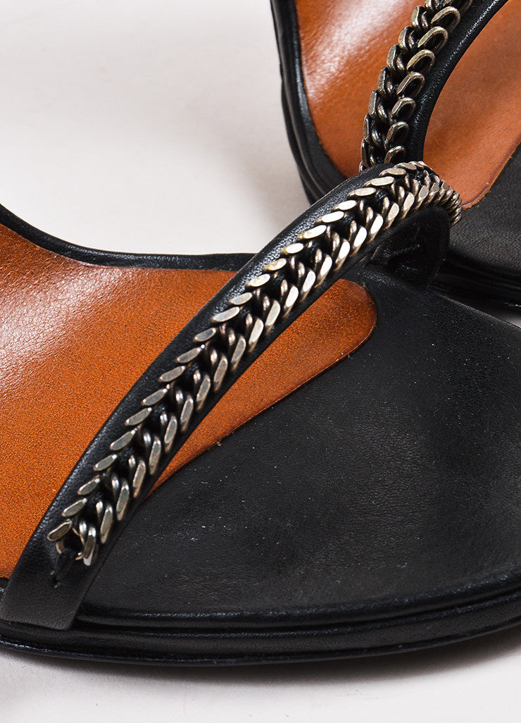 Isabel Marant Black Leather Chain Detailed Ankle Strap Sandals Detail